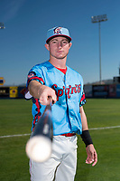 Spokane Indians infielder Jax Biggers (1) poses for a photo before a Northwest League game against the Vancouver Canadians at Avista Stadium on September 2, 2018 in Spokane, Washington. The Spokane Indians defeated the Vancouver Canadians by a score of 3-1. (Zachary Lucy/Four Seam Images)