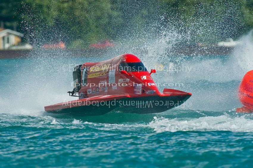 8-10 August 2008  Algonac, MI USA.Jose Mendana's Grand Prix/Mercury races through the rough water..©F.Peirce Williams 2008