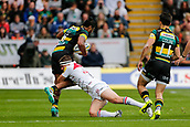 9th September 2017, Franklins Gardens, Northampton, England; Aviva Premiership Rugby, Northampton Saints versus Leicester Tigers; Ahsee Tuala of Northampton Saints is tackled by Nick Malouf of Leicester Tigers