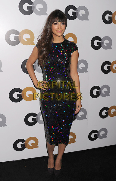 Hannah Simone.Arriving at the GQ Men Of The Year Party at Chateau Marmont Hotel in Los Angeles, California, USA..November 13th, 2012.full length dress hand on hip blue green silver black sequins sequined  .CAP/ROT/TM.©Tony Michaels/Roth Stock/Capital Pictures