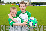 John Carmody and James Rusk at the FAI soccer camp on Friday at Mounthawk Park.