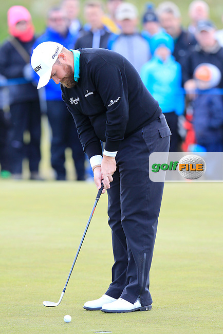 Shane LOWRY (IRL) putts with his wedge on the 1st green during Friday's Round 2 of the 2015 Dubai Duty Free Irish Open, Royal County Down Golf Club, Newcastle Co Down, Northern Ireland 5/29/2015<br />  Picture Eoin Clarke, www.golffile.ie