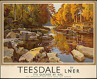 BNPS.co.uk (01202 558833)<br /> Pic: SwannGalleries/BNPS<br /> <br /> ***Please Use Full Byline***<br /> <br /> Teesdale by train - 1935 - &pound;1500.<br /> <br /> Beautiful posters from the halcyon days of travel up for auction.<br /> <br /> Scarce vintage travel posters promoting holidays across the globe in the 1920's and 30's are tipped to sell for over &pound;200,000 .<br /> <br /> The fine collection of 200 works of art that hark back to the halcyon days of train and boat travel have been brought together for sale.<br /> <br /> The posters were used to advertise dream holiday destinations in far-flung places such as the US and Australia and to celebrate the luxurious ways of getting to them.<br /> <br /> Most of the advertising posters date back to the 1930s and are Art Deco in style and they are all from the original print-run.