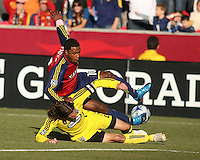 Columbus Crew Defender Frankie Hejduk (2) and Real Salt Lake Forward Robbie Findley (10) in the Real Salt Lake 1-0 win over Columbus Crew in Game 1 of the Semi-Finals of the MLS Playoffs on October 31, 2009 at  Rio Tinto Stadium in Sandy, Utah