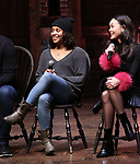 "Sasha Hollinger and Sabrina Imamura during The Rockefeller Foundation and The Gilder Lehrman Institute of American History sponsored High School student #eduHam matinee performance of ""Hamilton"" Q & A at the Richard Rodgers Theatre on December 5,, 2018 in New York City."