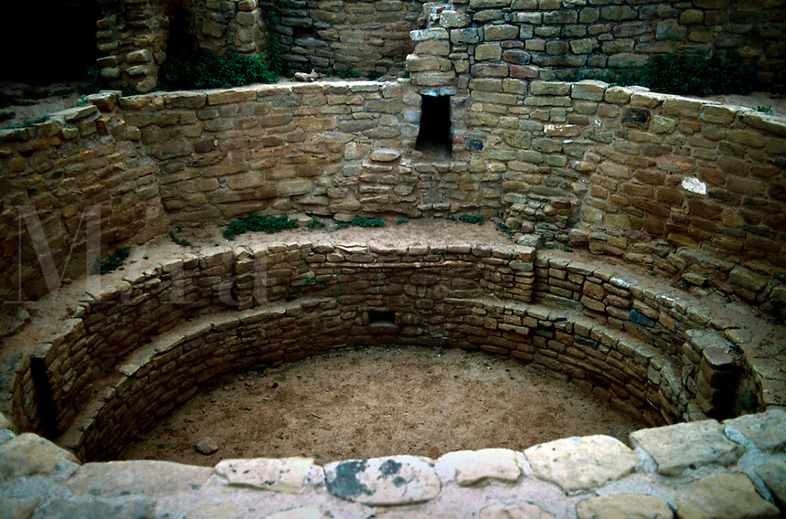 Interior view of kiva (ceremonial sacred chambers)ruins in Anasazi cliff dwellings. Mesa Verde National Park, Colorado.