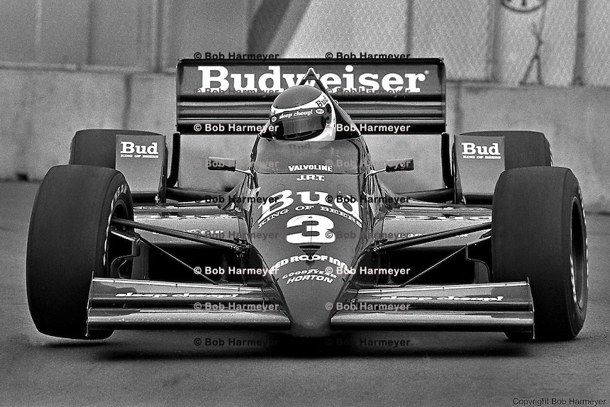 TORONTO, ONT - JULY 20: Bobby Rahal drives his March 86C/Cosworth to victory in the Molson Indy Toronto on July 20, 1986, on the temporary street circuit at Exhibition Place in Toronto, Ontario.