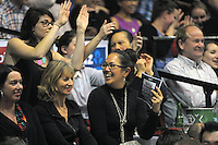 Courtside fans during the national basketball league match between Wellington Saints and Canterbury Rams at TSB Bank Arena, Wellington, New Zealand on Friday, 13 June 2014. Photo: Dave Lintott / lintottphoto.co.nz