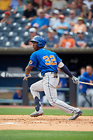 Durham Bulls Jesus Sanchez (32) at bat during an International League game against the Toledo Mud Hens on July 16, 2019 at Fifth Third Field in Toledo, Ohio.  Durham defeated Toledo 7-1.  (Mike Janes/Four Seam Images)