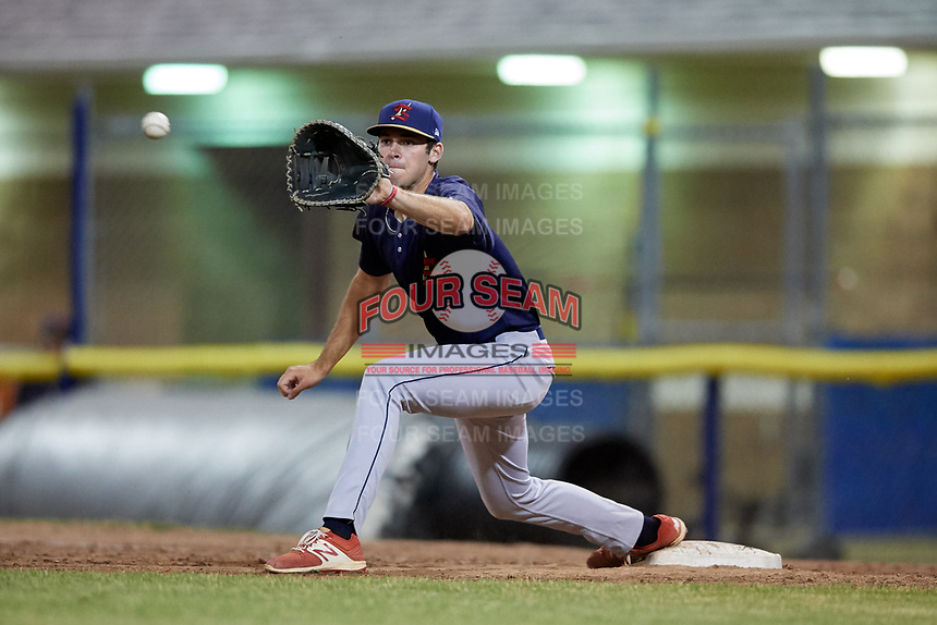 State College Spikes first baseman Brady Whalen (31) stretches for a throw during a game against the Batavia Muckdogs on July 7, 2018 at Dwyer Stadium in Batavia, New York.  State College defeated Batavia 7-4.  (Mike Janes/Four Seam Images)