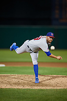Buffalo Bisons relief pitcher Conor Fisk (49) delivers a pitch during a game against the Syracuse Chiefs on September 2, 2018 at NBT Bank Stadium in Syracuse, New York.  Syracuse defeated Buffalo 4-3.  (Mike Janes/Four Seam Images)