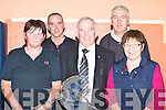Helen Twomey, Tom Burke Castleisland, Johnny Brosnan Kerry Badminton  President, Paudie Horan Killarney and Peggy Horan Secretary who played at the Munster badminton championship in Castleisland Community Centre on Sunday