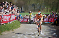 48th Amstel Gold Race 2013..Mikel Astarloza (ESP) leading the race by attacking on the Gulperberg