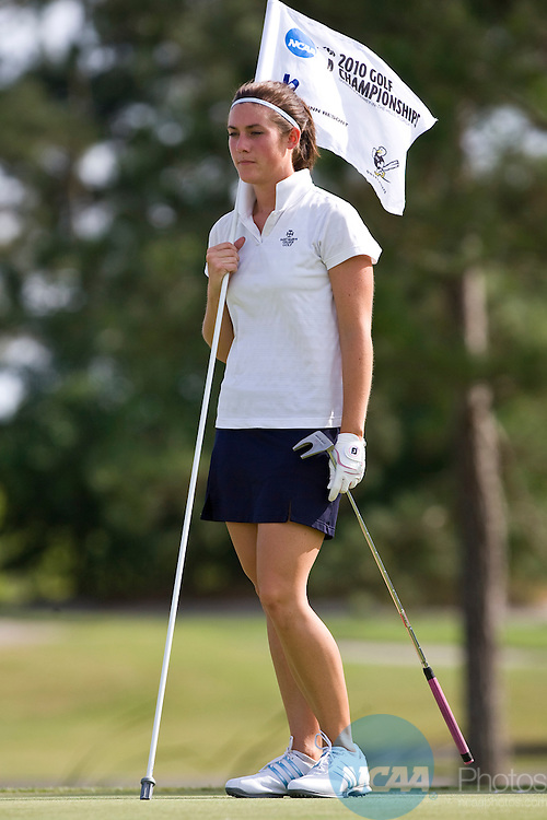 14 MAY 2010:  Natalie Matuszak of St. Mary's College holds the pin after hitting a double-bogey on the 18th hole which followed a bogey on the 17th during the Division III Women's Golf Championship held at the Mission Inn Resort in Howey-In-The-Hills, FL.  Matuszak started the day in first place and led the field all day until her 17th hole meltdown. She finished the day tied for third with Alana Swain of Methodist with a score of +23.  Matt Marriott/ NCAA Photos