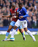 Victor Anichebe of Everton and Marlon Harewood of Aston Villa during the Premier League match at Goodison Park  Stadium, Liverpool. Picture date 27th April 2008. Picture credit should read: Simon Bellis/Sportimage
