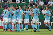 9th January 2018, nib Stadium, Perth, Australia; A League football, Perth Glory versus Melbourne City; Melbourne City celebrate a Ross McCormack goal from a free kick during the first half