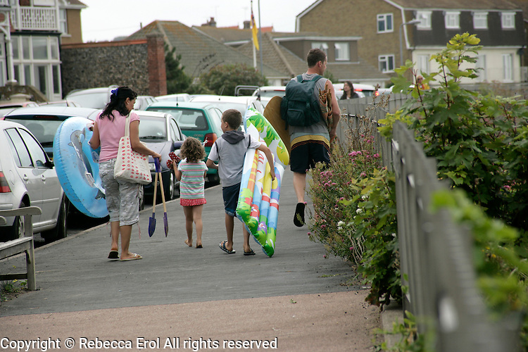 British family off to the beach in Broadstairs, Kent, UK