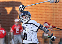 Penn State's Nick Aponte (10) celebrates his goal against Ohio State on April 2, 2017.  No. 2 Penn State defeated No. 5 Ohio State 9-4. Photo/©2017 Craig Houtz