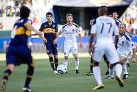 LA Galaxy midfielder Michael Stephens (26) ball watching. The LA Galaxy defeated Boca Juniors 1-0 at Home Depot Center stadium in Carson, California on Sunday May 23, 2010.  .