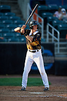 Aberdeen IronBirds Toby Welk (16) at bat during a NY-Penn League game against the Vermont Lake Monsters on August 18, 2019 at Leidos Field at Ripken Stadium in Aberdeen, Maryland.  Vermont defeated Aberdeen 6-5.  (Mike Janes/Four Seam Images)