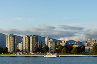 Old fashioned paddleboat with West End skyline in background, Vancouver, British Columbia, Canada