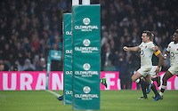 Twickenham, United Kingdom.  &ldquo;Smiling&rdquo;,  George FORD and Marland YARDE, running in behind Owen FARRELL [Hidden by the post protection] to score a second half try during the, Old Mutual Wealth Series match.: England vs South Africa, at the RFU Stadium, Twickenham, England, Saturday, 12.11.2016<br /> <br /> [Mandatory Credit; Peter Spurrier/Intersport-images]