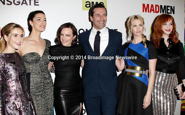 Pictured: Kiernan Shipka, Jessica Pare, Elisabeth Moss, Jon Hamm, January Jones, Christina Hendricks <br /> Mandatory Credit &copy; Frederick Taylor/Broadimage<br /> &quot;Mad Men&quot; Season 7 Premiere <br /> <br /> 4/2/14, Hollywood, California, United States of America<br /> <br /> Broadimage Newswire<br /> Los Angeles 1+  (310) 301-1027<br /> New York      1+  (646) 827-9134<br /> sales@broadimage.com<br /> http://www.broadimage.com