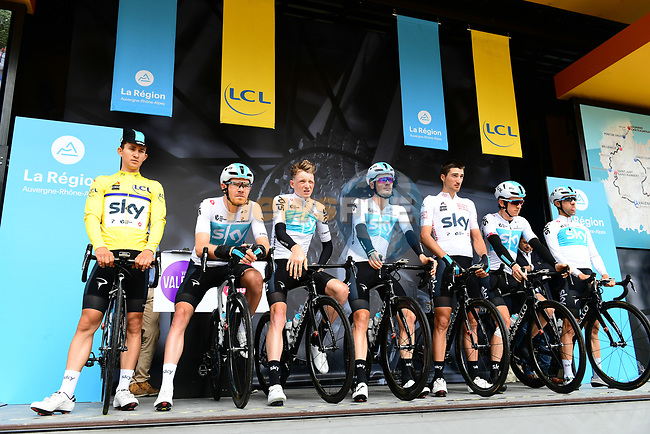Team Sky introduced on stage at sign on before Stage 1 of the 2018 Criterium du Dauphine 2018 running 179km from Valence to Saint-Just-Saint-Rambert, France. 4th June 2018.<br /> Picture: ASO/Alex Broadway | Cyclefile<br /> <br /> <br /> All photos usage must carry mandatory copyright credit (© Cyclefile | ASO/Alex Broadway)