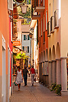 Street in Ascona, Switzerland with shops, cafes and galleries