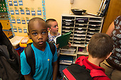 MR / Schenectady, NY. Zoller Elementary School (urban public school). Kindergarten classroom. Portrait of boy (5) in classroom as students line up for dismissal. MR: Abd2. ID: AM-gKw. © Ellen B. Senisi.