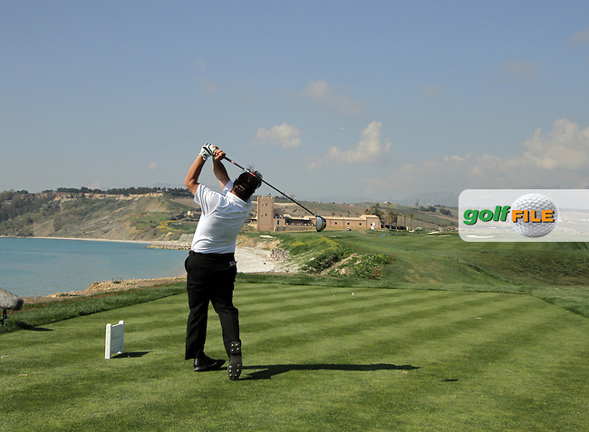 Emanuele Canonica (ITA) on the 9th tee on Day 1 of the 2012 Sicilian Open at Verdura Golf and Spa Resort, Sicily, Italy...(Photo Jenny Matthews/www.golffile.ie)