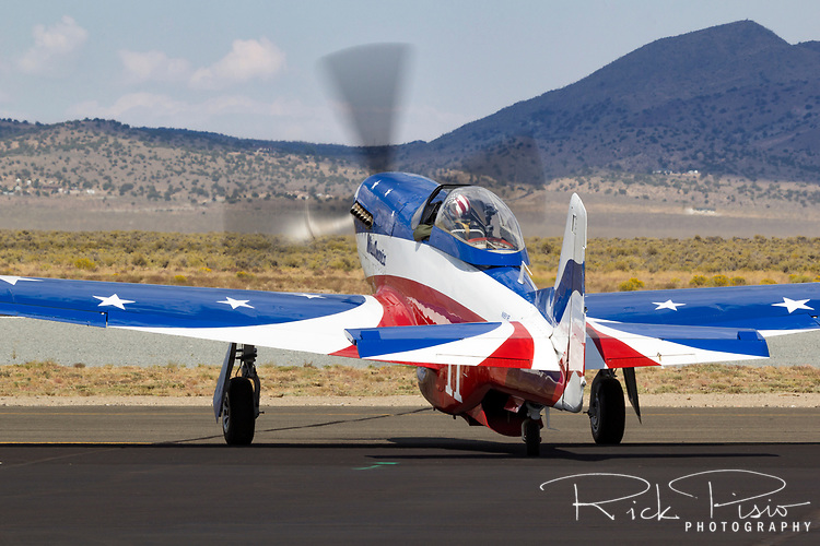 P-51 Mustang Miss America taxies on the Stead Field ramp during the 2013 National Championship Air Races in Reno, Nevada.