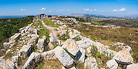 Panoramic photo of Eurialo Casle (Castello Eurialo), ruins of a Greek Castle near Syracuse (Siracusa), Sicily, Italy, Europe. This is a panoramic photo of Eurialo Casle (Castello Eurialo), ruins of a Greek Castle near Syracuse (Siracusa), Sicily, Italy, Europe.