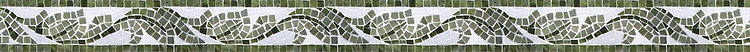 """2 3/4"""" Acanthus border, a hand-cut mosaic shown in polished Thassos, Verde Luna, and Chartreuse by New Ravenna."""