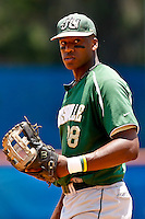 June 03, 2011:    Jacksonville Dolphins 1b/of Adam Brett Walker (28)during NCAA Gainesville Regional action between Jacksonville Dolphins  and Miami Hurricanes played at Alfred A. McKethan Stadium on the campus of Florida University in Gainesville, Florida. Miami defeated Jacksonville 7-2. ........