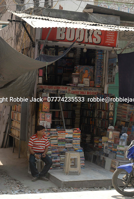 Bookshop in the Paharganj district of New Delhi, India.