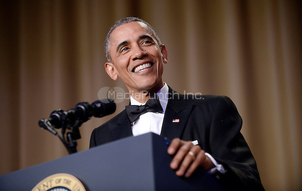 United States President Barack Obama speaks during the White House Correspondents' Association annual dinner on April 30, 2016 at the Washington Hilton hotel in Washington.This is President Obama's eighth and final White House Correspondents' Association dinner.<br /> Credit: Olivier Douliery / Pool via CNP/MediaPunch