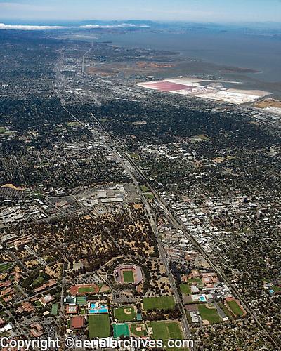 high overview aerial photograph Palo Alto, San Francisco Peninsula, Santa Clara county, California
