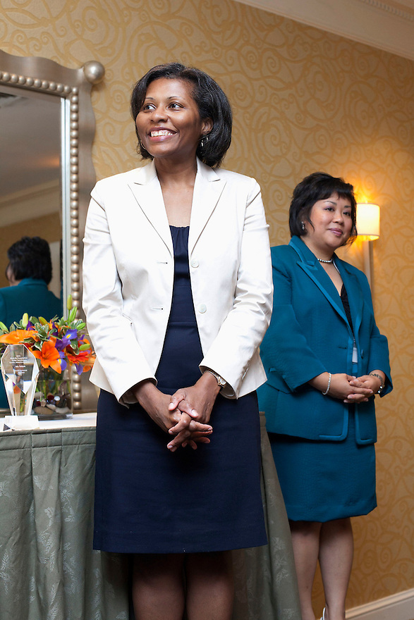 April Hawkins, MetLife Foundation, left, and Maria Gonzales Jackson, right, at the Older Volunteers Enrich America Awards at the Double Tree Hotel in Washington, DC on Friday, June 17, 2011.