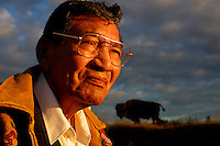 Fort Smith-10/11/02-Frank Laviolette, 76, looks over Wood Buffalo national park were the once strong herd of buffalo has been reduced by disease and over study. Cattlemen are calling for the erraticadtion of the herd becasuse of the disease they carry. Photo by Ian Jackson/ (For National story by Charlie Gillis)