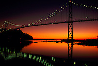 Lions Gate Bridge, Vancouver, BC, British Columbia, Canada - First Narrows and Burrard Inlet at Sunset