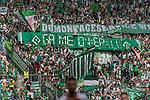 12.05.2018, OPEL Arena, Mainz, GER, 1.FBL, 1. FSV Mainz 05 vs SV Werder Bremen<br /> <br /> im Bild<br /> Werder Bremen Fans feiern den Abstieg von Hamburger SV / HSV in die 2. Liga mit Bannern, Spruchb&auml;ndern, Applaus, Jubel, Pyrotechnik, Gesang, Stadionuhr &quot;Game over !!&quot;<br /> &quot;Demontageservice WB!&quot;, <br /> <br /> Foto &copy; nordphoto / Ewert