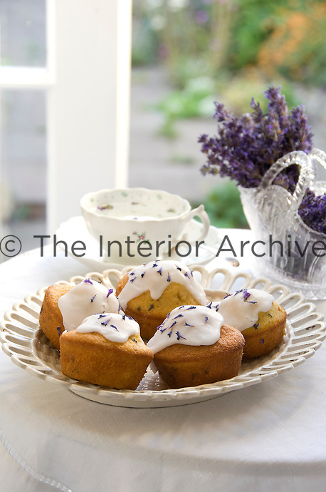 Detail of a plate of lavender cup cakes