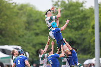 Sam Dickinson of Ealing Trailfinders wins collects during a line out during the British & Irish Cup Final match between Ealing Trailfinders and Leinster Rugby at Castle Bar, West Ealing, England  on 12 May 2018. Photo by David Horn / PRiME Media Images.