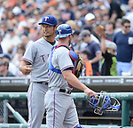 (L-R) Yu Darvish, Chris Gimenez (Rangers), MAY 22, 2014 - MLB : Yu Darvish of Rangers talks with cather Chris Gimenez during the MLB game between the Detroit Tigers and the Texas Rangers at Comerica Park in Detroit, United States. (Photo by AFLO)