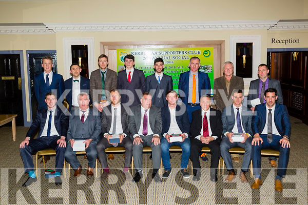 Senior/Minor Hurlers/Footballers and Handball player who were presented with the 2015 Kerry Supporters Club Trophy's at the Kerry Supporters GAA 26th Annual Dinner & Dance in Ballygarry House Hotel & Spa,Tralee on Saturday night by Donal O'Leary Chairman of Kerry Supporters Club. Front l-r: Shane Nolan (Hurler), Ger McCarthy (Kerry County Board Officer Hurling), Brendan Kealy (Kerry Football All-Star), Patrick O'Sullivan (Chairman of Kerry County Board), John Egan (Kerry All-Star Hurling),Shane Enright and Anthony Maher (Kerry Football All Star). Back l-r: Donnchadh Walsh (Kerry Football All-Star),John Griffin (Capt Kerry Hurling Team Christy Ring Cup),Patrick Kelly (Kerry Hurling All-Star),Marc O'Connor (Capt Kerry Minors 2015),John Buckley (Minor B Hurling Champions),Stephen Wallace (Manager Kerry Junior Football  Champions), John Michael Brick (Hurler) and Dominick Lynch (Handball)