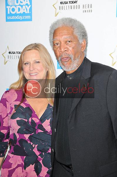 Morgan Freeman and Lori McCreary<br /> at the USA Today Hollywood Hero Gala honoring Ashley Judd,  Montage Hotel, Beverly Hills, CA.  11-10-09<br /> David Edwards/DailyCeleb.com 818-249-4998