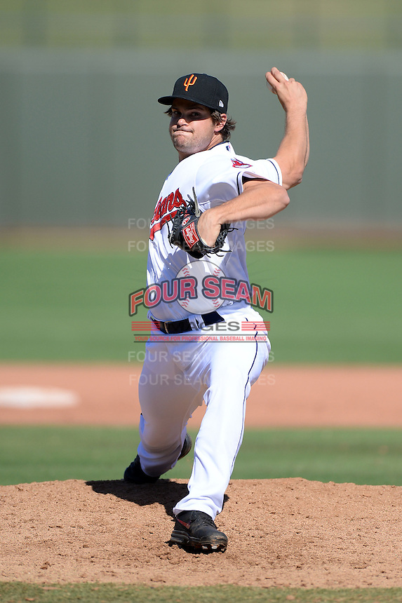 Surprise Saguaros pitcher Jeff Johnson (43), of the Cleveland Indians organization, during an Arizona Fall League game against the Salt River Rafters on October 14, 2013 at Surprise Stadium in Surprise, Arizona.  Salt River defeated Surprise 3-2.  (Mike Janes/Four Seam Images)