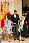 King Felipe VI of Spain, Queen Letizia and Uruguayan poet Ida Vitale (R) during the Cervantes Literature Prize ceremony at the University of Alcala in Madrid on April 23, 2019. (ALTERPHOTOS/Alconada).