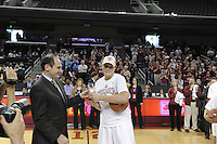 March 14, 2010.  Jayne Appel receives her all-tournament team trophy after the Stanford Cardinal beat the UCLA Bruins to win the 2010 Pac-10 Tournament.